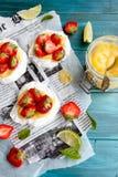 Strawberry-lime pavlova Stock Photos