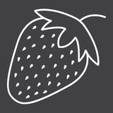 Strawberry line icon, fruit and diet vector illustration