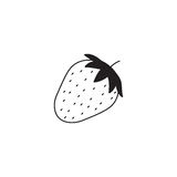 Strawberry line icon, healthy fruit, vector illustration
