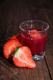 Strawberry Liqueur in a small Glass Stock Photo