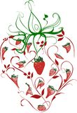 Strawberry Lite. An ornate image of a strawberry and its leaves consisting of various strawberry forms Stock Image