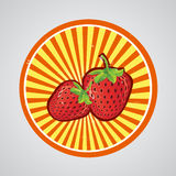 Strawberry  Logo. Label or Sticker for some product made by strawberry Royalty Free Stock Photo