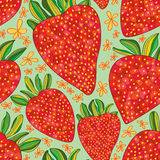 Strawberry love draw seamless pattern. Illustration abstract love strawberry shape drawing seamless pattern green color background texture backdrop graphic Stock Images