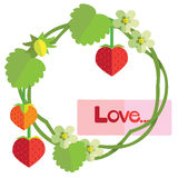 Strawberry of love. Illustration Royalty Free Stock Images