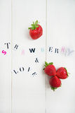 Strawberry and Love Letters cut out from the Magazine Stock Photos