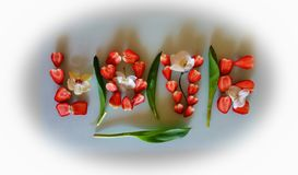 Strawberry Love Word Red green white Background ,With Orchids decoration design abstract art. Red green white love word Background ,Strawberry on Plate With stock images