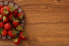 Strawberry lunch. On the wooden table stock photo