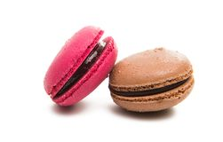 Strawberry macaron macaroon cookie dessert. From France isolated on a white background Royalty Free Stock Images