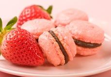 Strawberry Macaroons Stock Photo