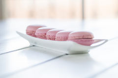 Strawberry macaroons (macarons) Stock Images