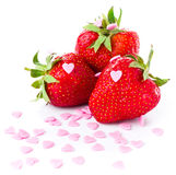 Strawberry macro isolated on white background, closeup Stock Photo