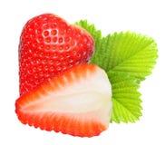 Strawberry macro. Strawberry macro with leaf isolated on white Royalty Free Stock Image