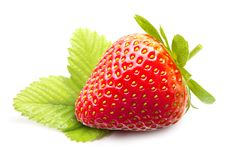 Strawberry macro with leaves Royalty Free Stock Photography