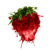 Strawberry made of colorful splashes. On white background Royalty Free Stock Images