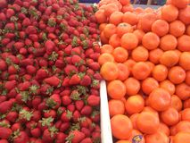 Strawberry and mandarin on food bazaar in istanbul. Stock Photography