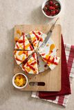 Strawberry mango cake. On wooden board Royalty Free Stock Photos