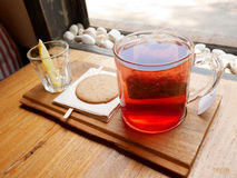 Strawberry Mango Hot Tea on wooden tray Royalty Free Stock Photo