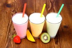 Strawberry, mango and kiwi soft drink, smoothie Stock Photo