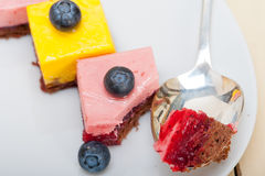Strawberry and mango mousse dessert cake Stock Photography
