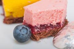 Strawberry and mango mousse dessert cake Stock Images
