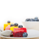 Strawberry and mango mousse dessert cake Royalty Free Stock Images