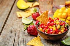 Strawberry mango pepper salsa Stock Image