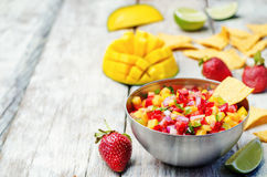 Strawberry mango pepper salsa Royalty Free Stock Photos