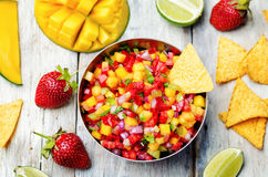Strawberry mango pepper salsa Stock Photography