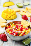 Strawberry mango pepper salsa Stock Photos