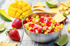 Strawberry mango pepper salsa Royalty Free Stock Images