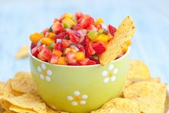 Strawberry mango salsa Royalty Free Stock Images