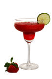 Strawberry margarita. With lime slice and strawberrys on side royalty free stock photos