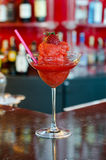 Strawberry Margarita. Cocktail on a bar shelf Stock Images