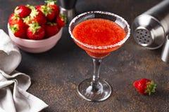 Strawberry Margarita cocktail in glass. Summer alcoholic strawberry Margarita cocktail in glass stock photo