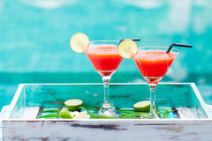 Strawberry margarita cocktail. Outdoor background Royalty Free Stock Image