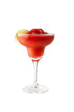 Strawberry margarita isolated on a white background garnish with salt and a lobule green lime with clipping path Royalty Free Stock Photo