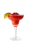 Strawberry margarita isolated on a white background garnish with salt and a lobule green lime with clipping path Royalty Free Stock Images