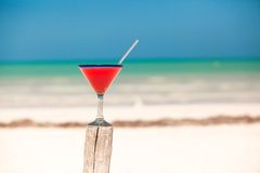 Strawberry margarita on the sandy white beach Stock Images