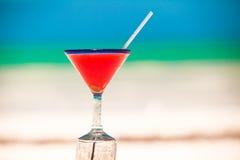 Strawberry margarita on the sandy white beach Stock Photos