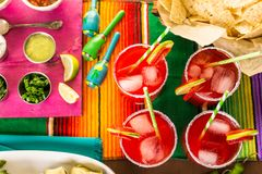 Strawberry margaritas. Strawberry and lime margaritas on the party table