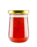 Strawberry marmalade jam in glass jar Royalty Free Stock Images
