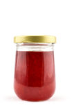 Strawberry marmalade jam in glass jar Stock Image