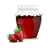 Strawberry marmalade in a jar and fresh strawberries Stock Photography