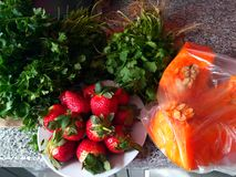 Strawberry. Marrocan strawberry  zucchini parsley in tangier Royalty Free Stock Images