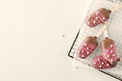 Marshmallow shaped as Ice Cream and decorated with pink candy royalty free stock photo