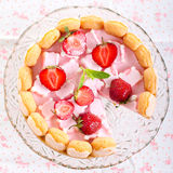 Strawberry and marshmallow yogurt cake Stock Images