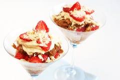 Strawberry and mascarpone tiramisu. Italian dessert strawberry and mascarpone tiramisu in tall glasses Royalty Free Stock Image