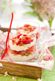 Strawberry and mascarpone trifle Stock Photos