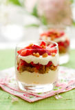 Strawberry and mascarpone trifle. In  glasses Royalty Free Stock Photos