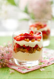 Strawberry and mascarpone trifle. In  glasses Stock Image
